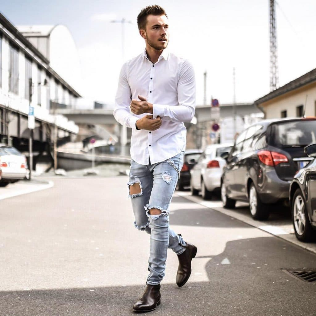 Shirt, jeans, Chelsea boots