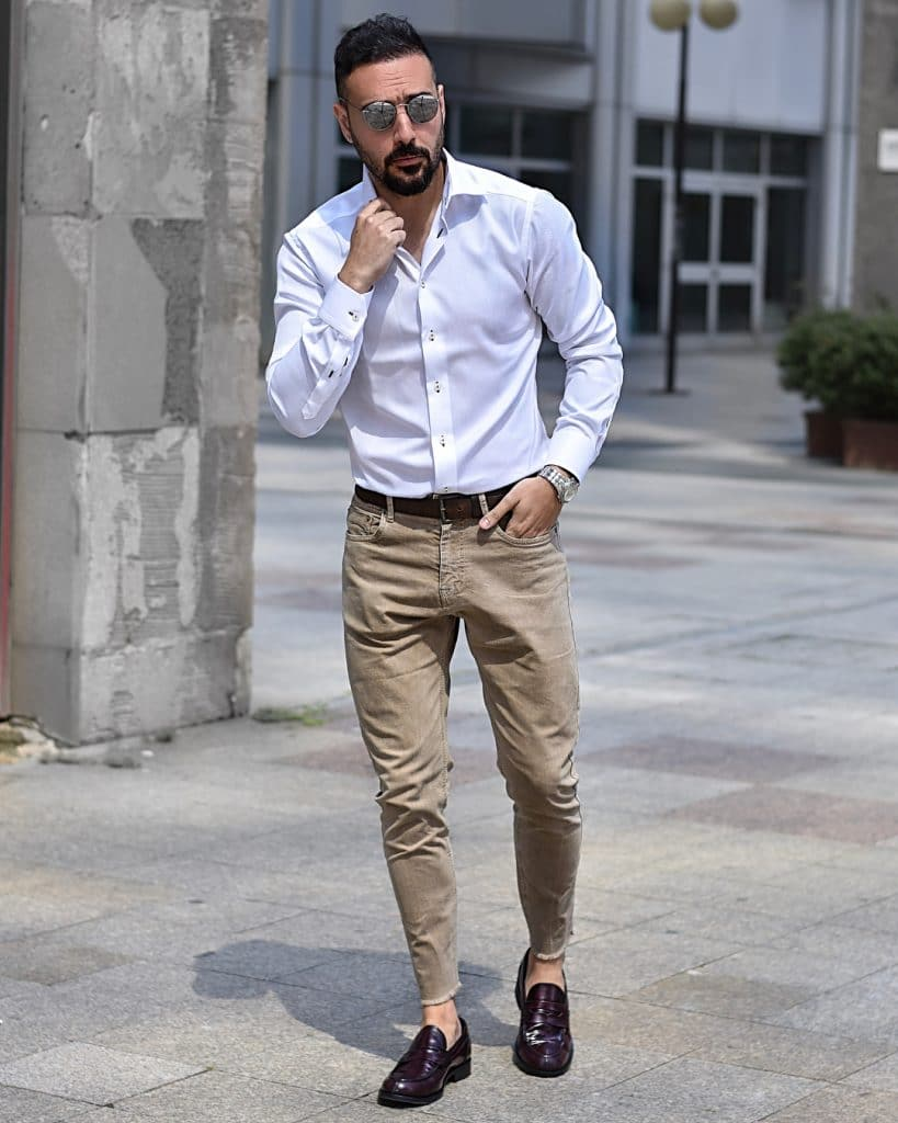 Shirt, khaki pants, loafers