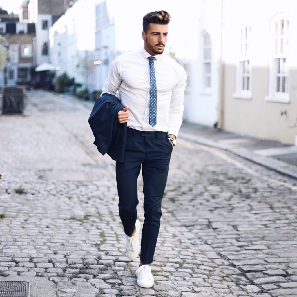 Shirt, suit, tie, sneaker