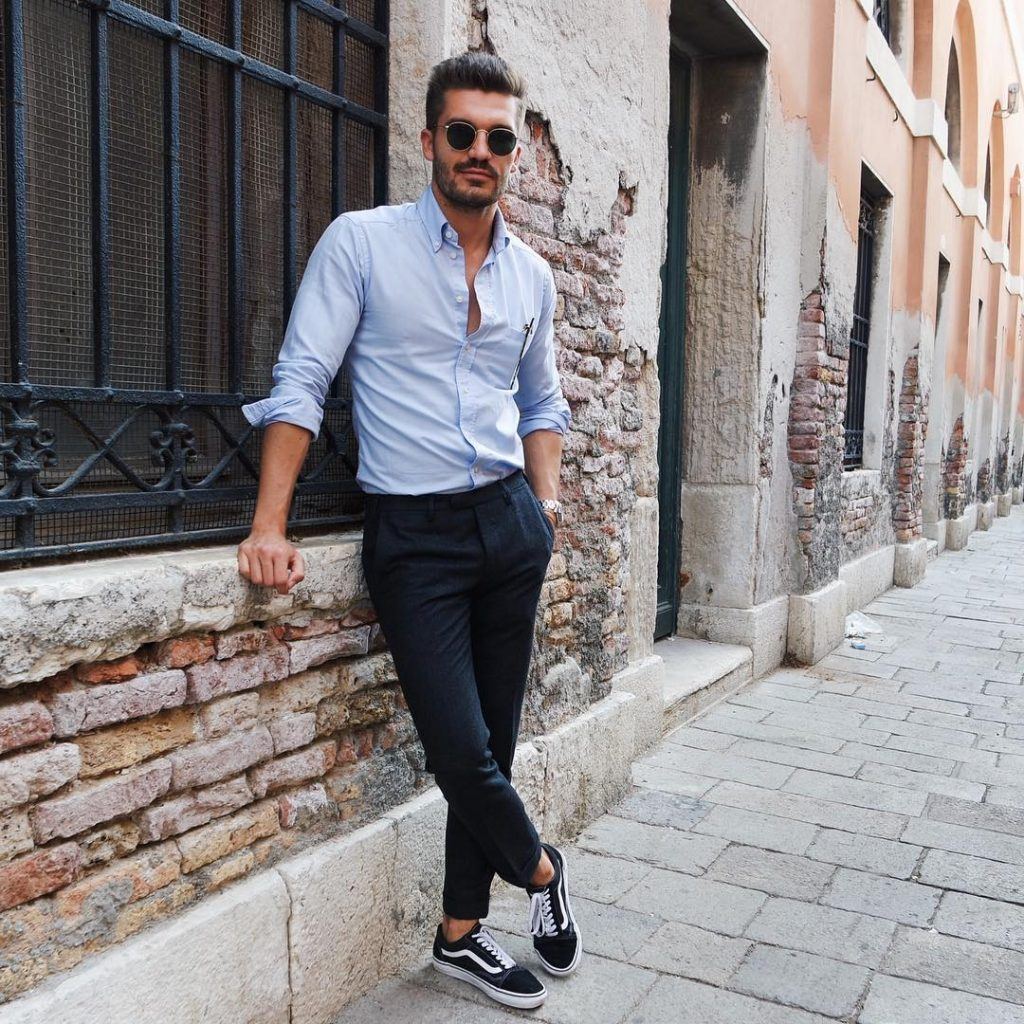 Shirt, dress pants, sneaker