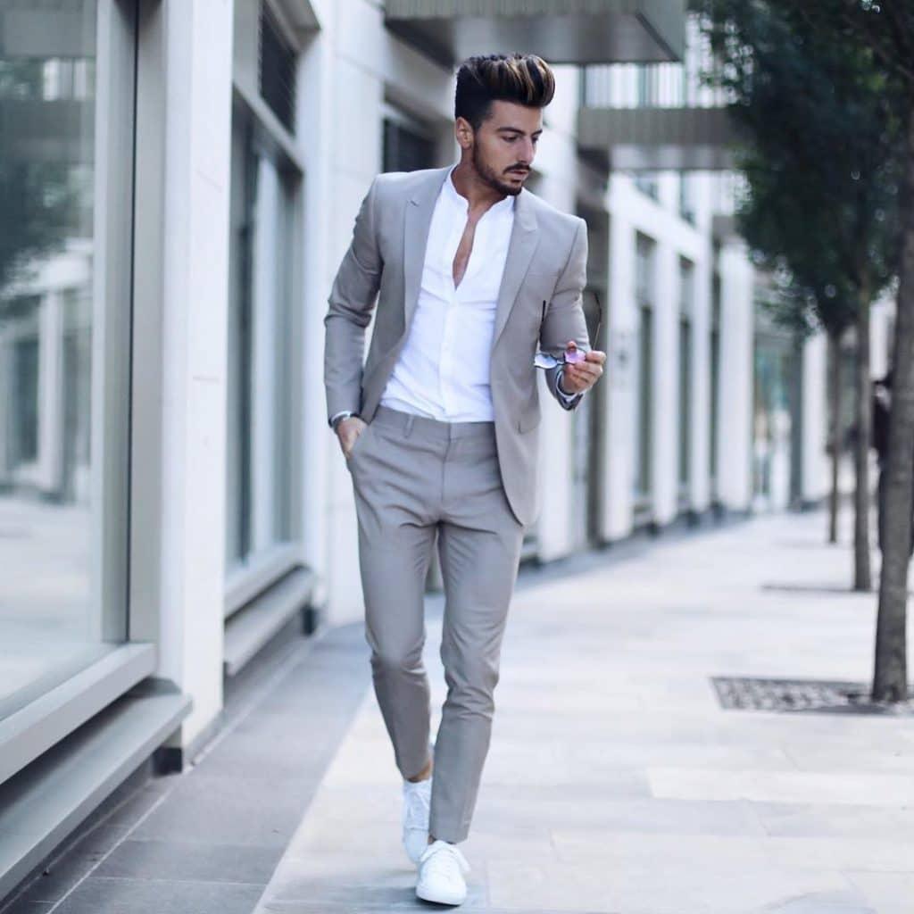 Suit, shirt, sneaker