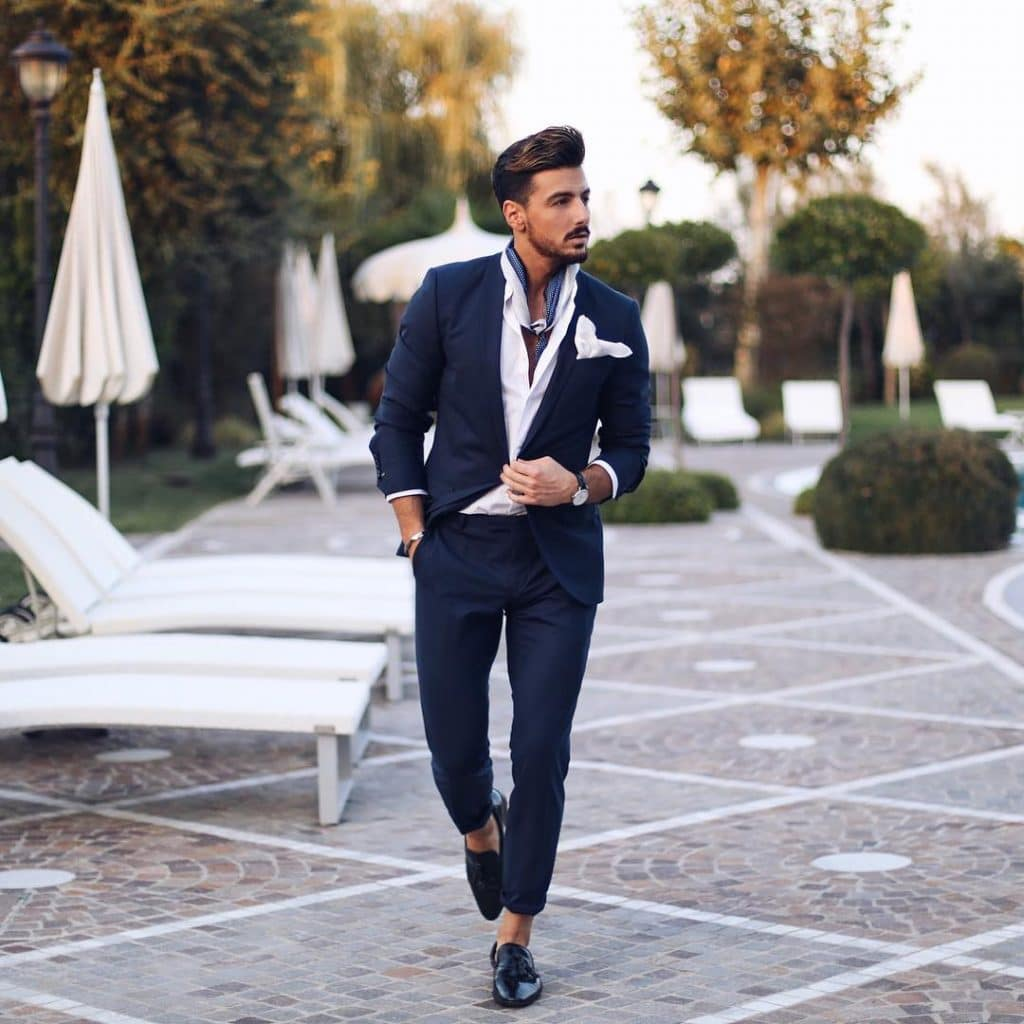 Suit, shirt, loafers