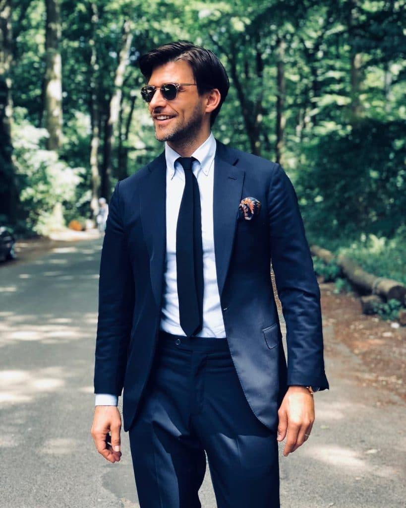 Black suit, tie, dress shoes
