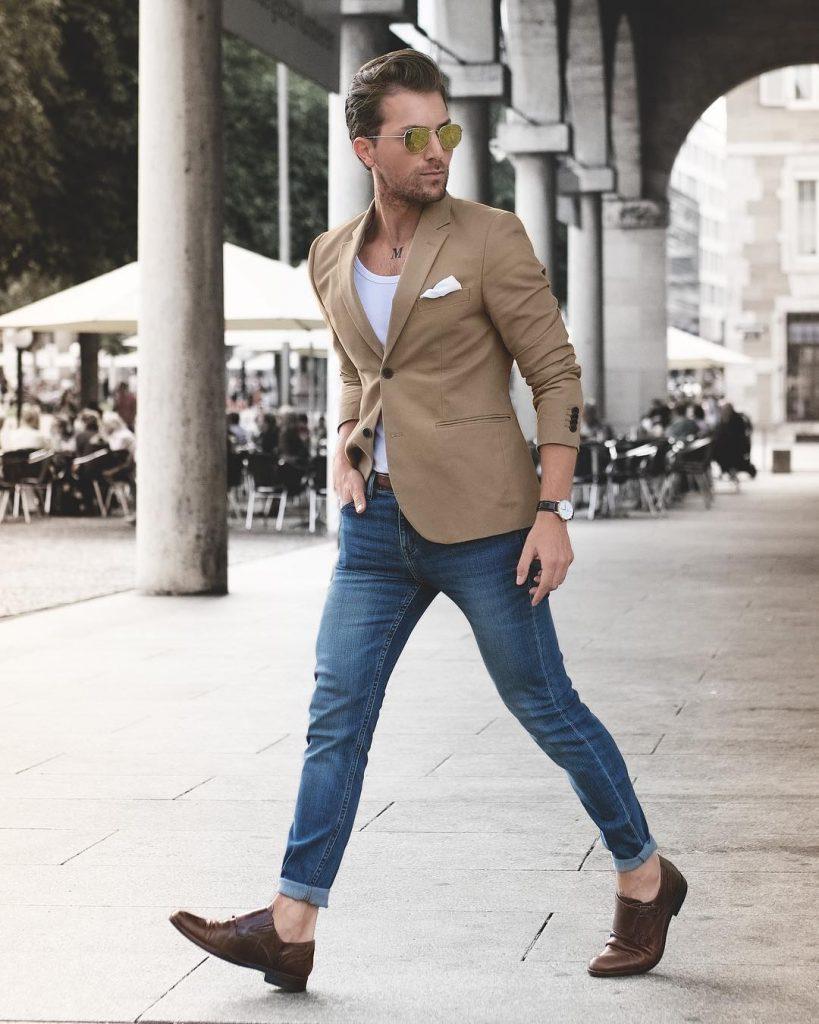 Blazer, singlet, jeans, double monk strap shoes