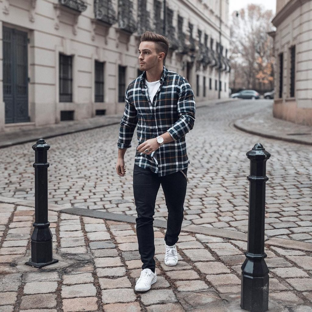Checked shirt, tee, jeans, sneaker