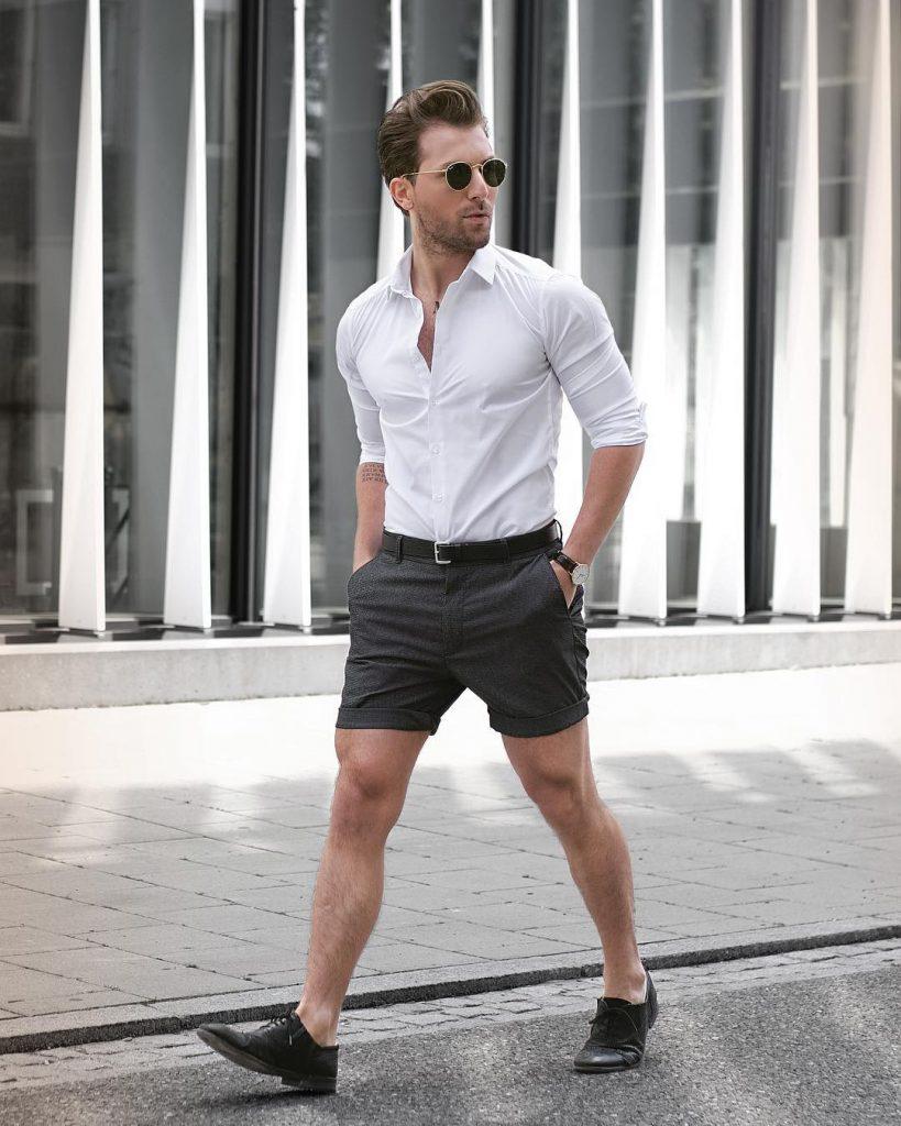Shirt, short pants, leather shoes