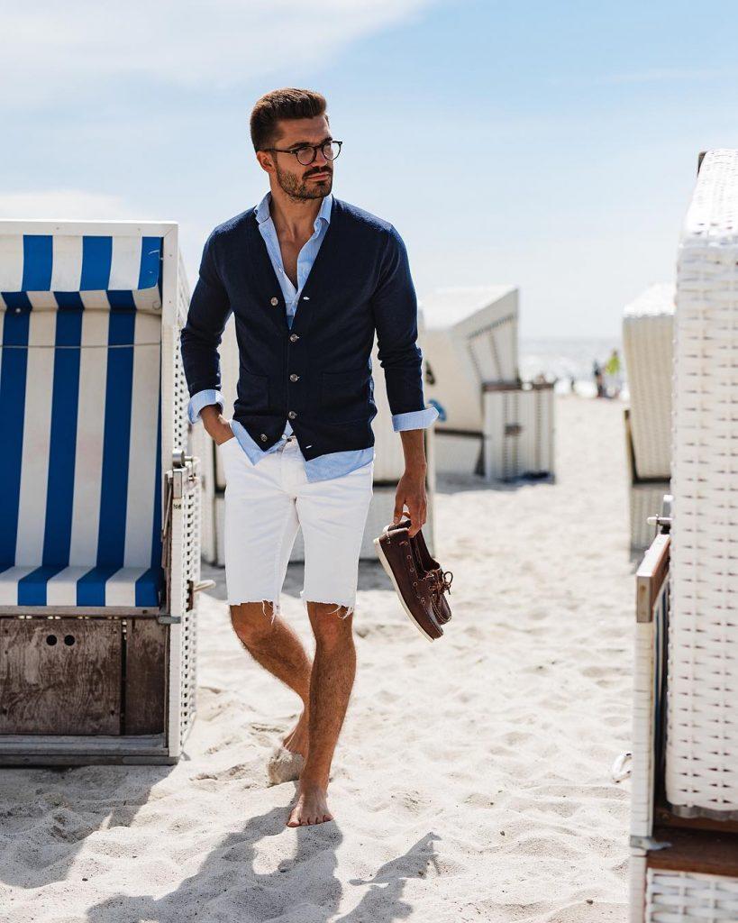 Shirt, cardigan, short pants, boat shoes