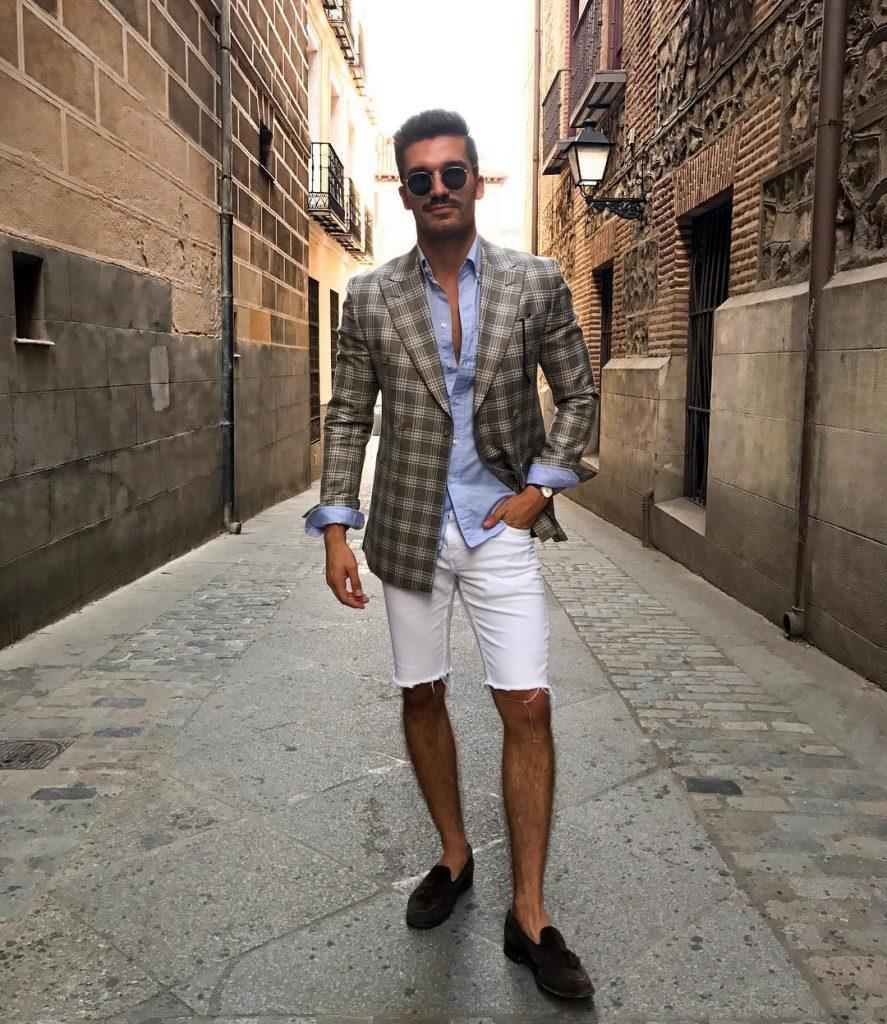 Shirt, blazer, short pants, loafers