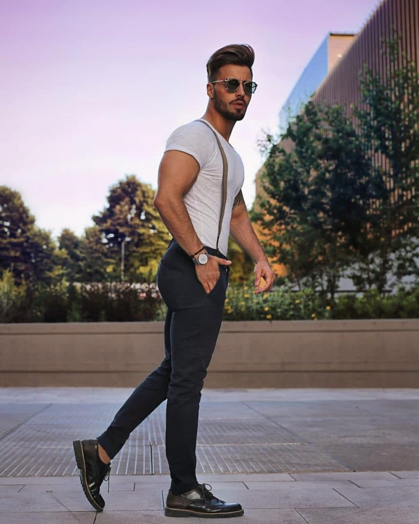 White tee, suspender, trousers, leather shoes