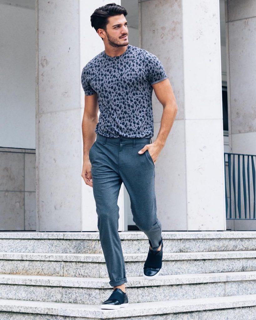 Print tee, dress pants, sneaker
