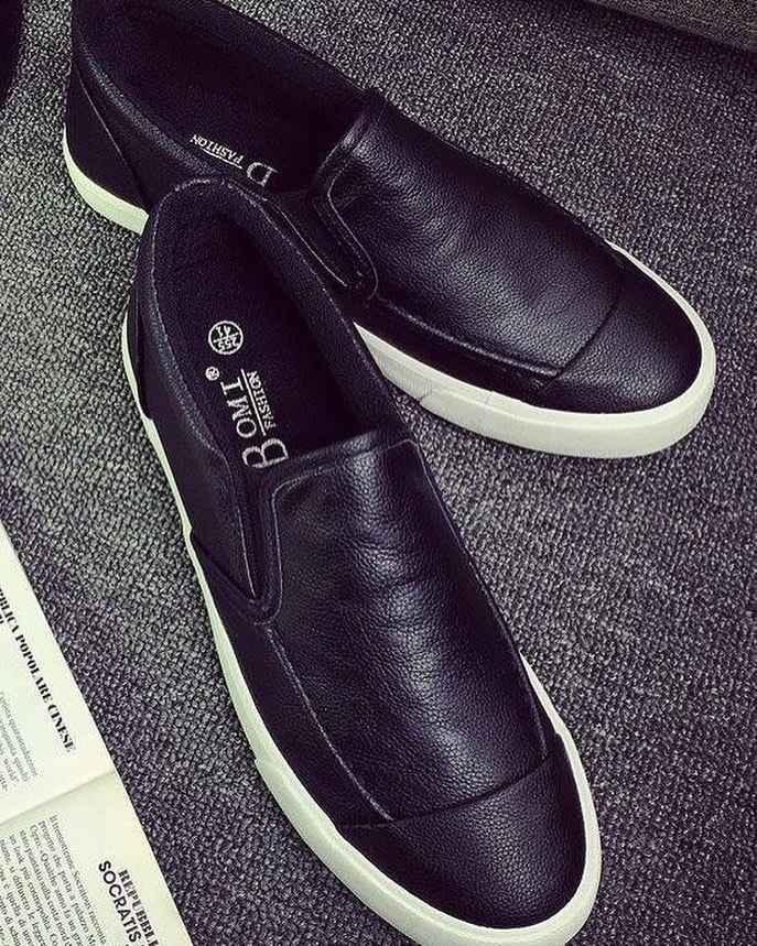 Faux leather slip-on shoes