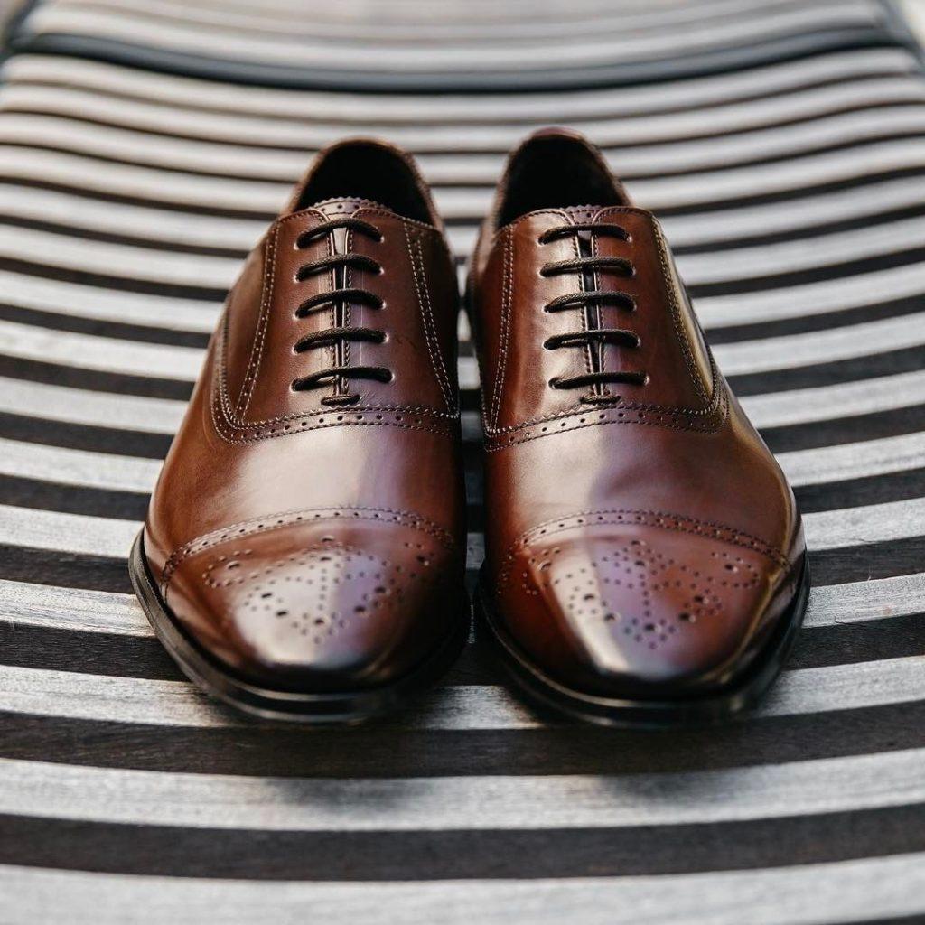 Dark brown semi brogue dress shoes