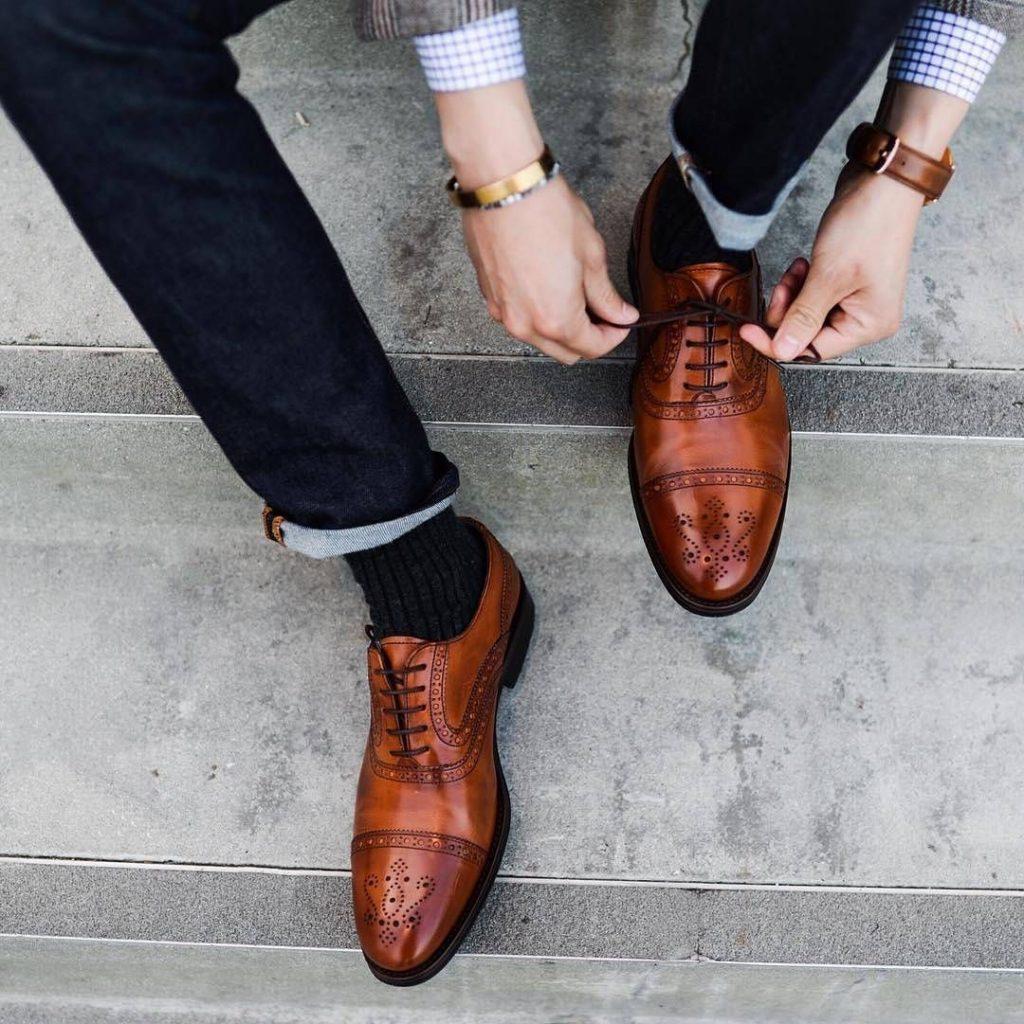 Brown semi brogue dress shoes