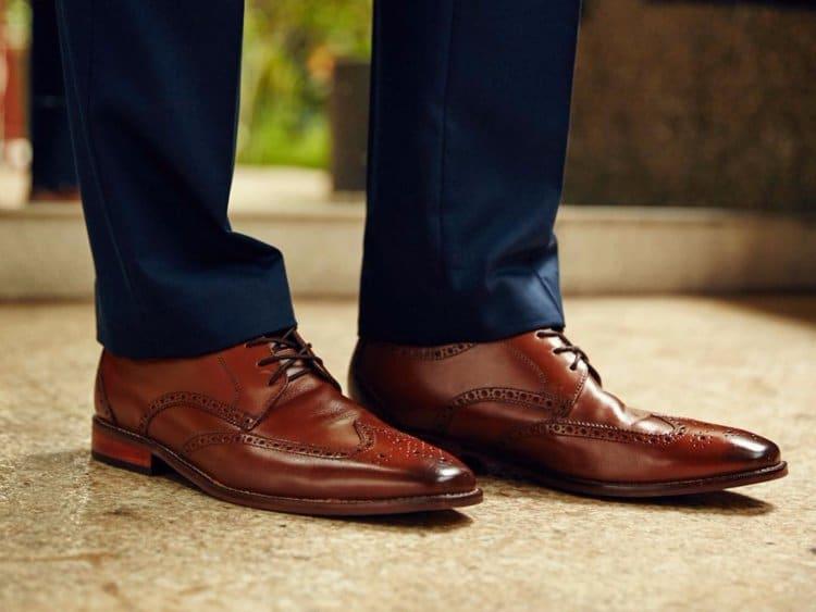 Brown brogue dress shoes