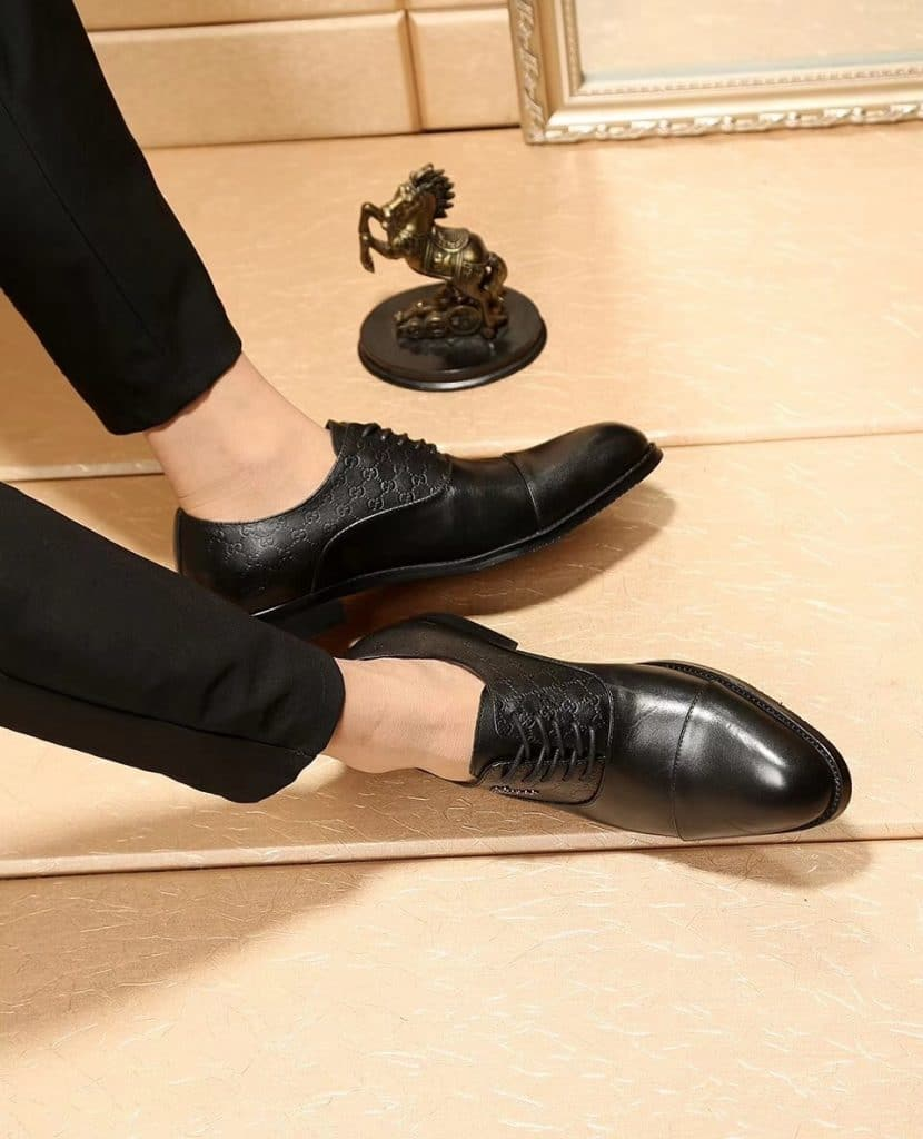 Black derby dress shoes
