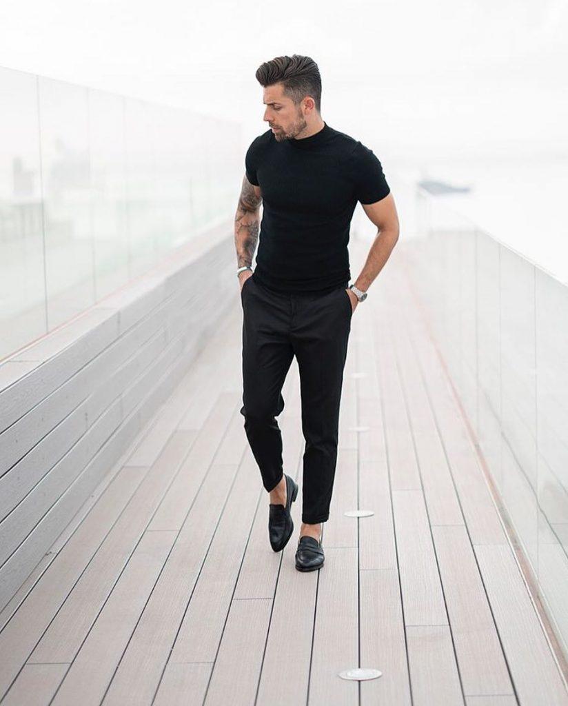 Black tee, black dress pants, loafers