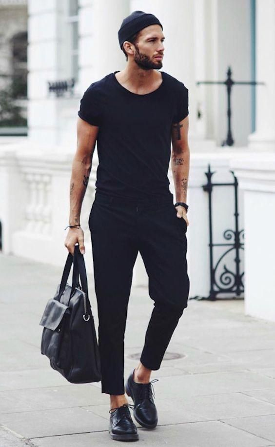 Black tee, black trousers, leather shoes
