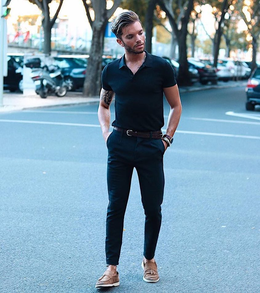 Black polo shirt, black dress pants, loafers