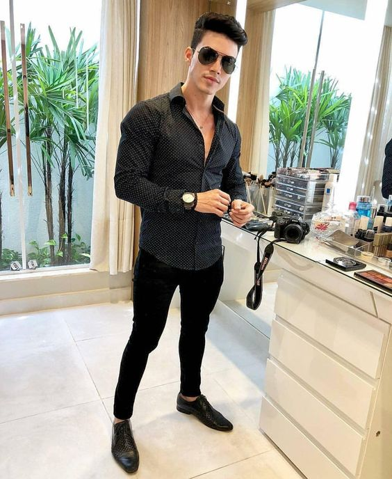 Black shirt, black trousers, leather shoes