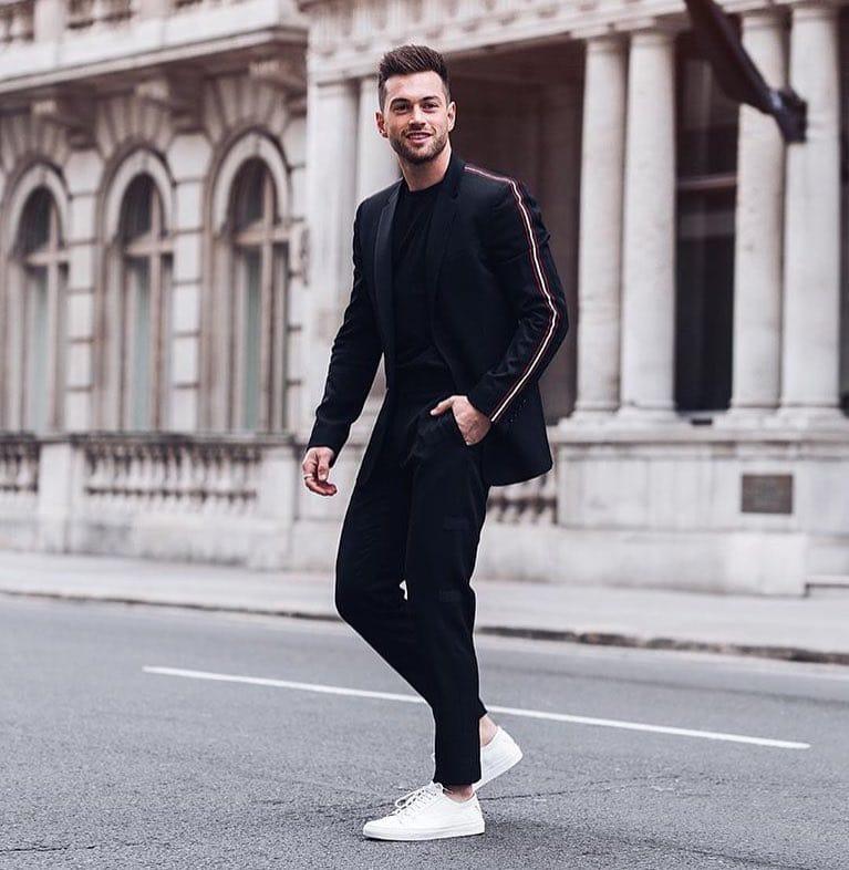 Black tee, suit, sneaker
