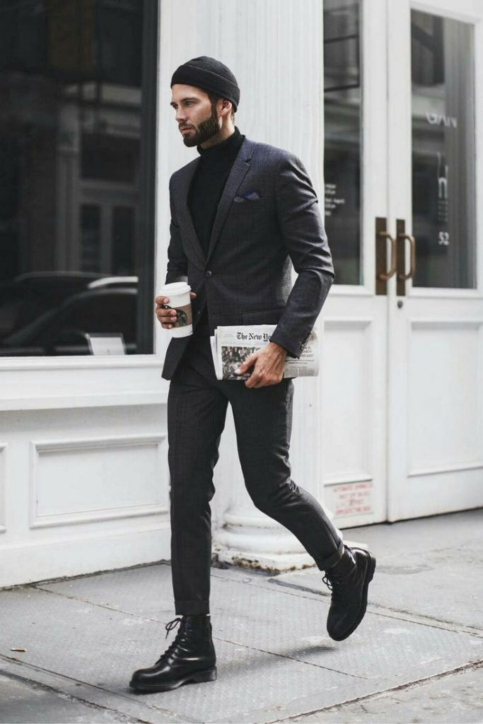 Black sweater, suit, leather boots