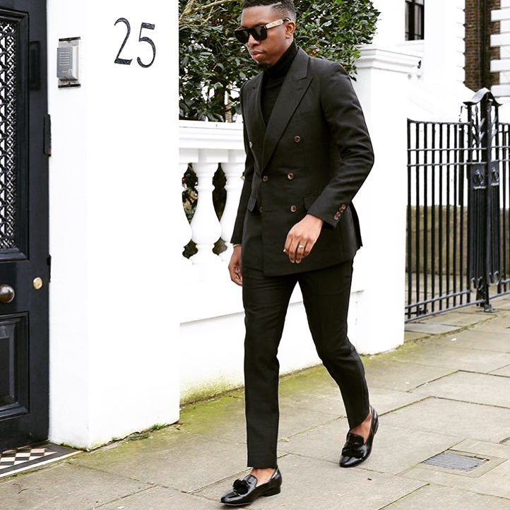 Black sweater, suit, loafers