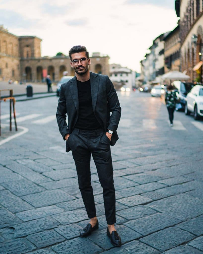 Black tee, suit, loafers