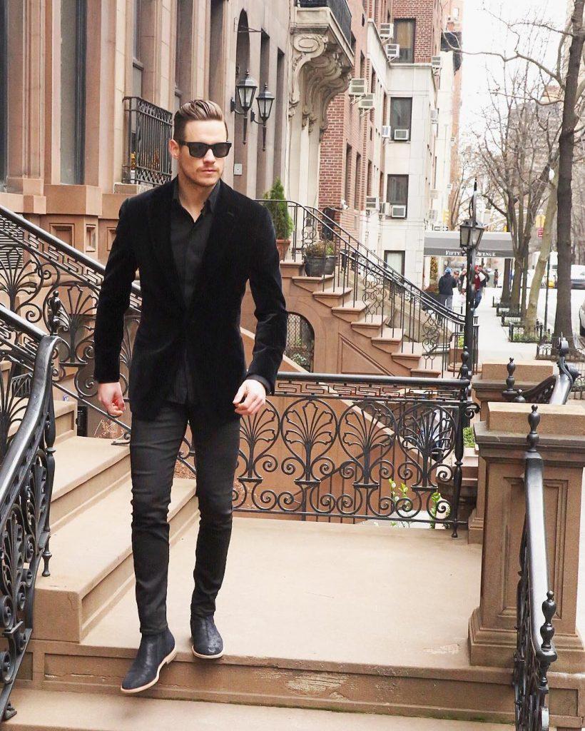 Black shirt, blazer, jeans, boots