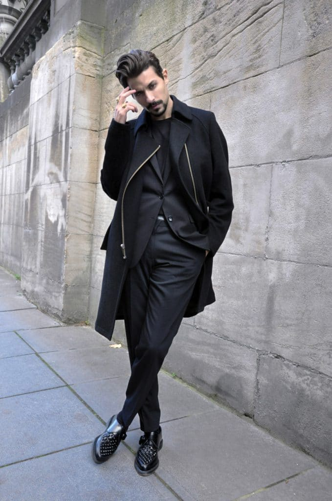 Black tee, suit, trench coat, leather shoes