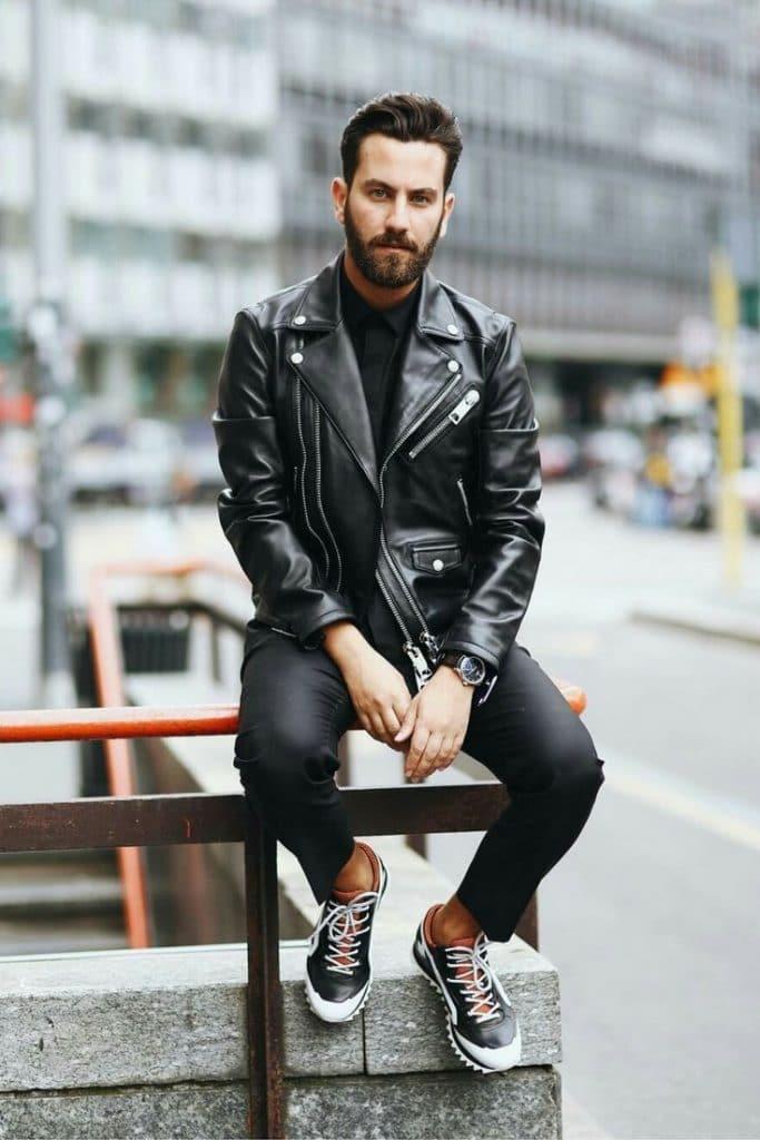Leather biker jacket, shirt, trousers, sneaker