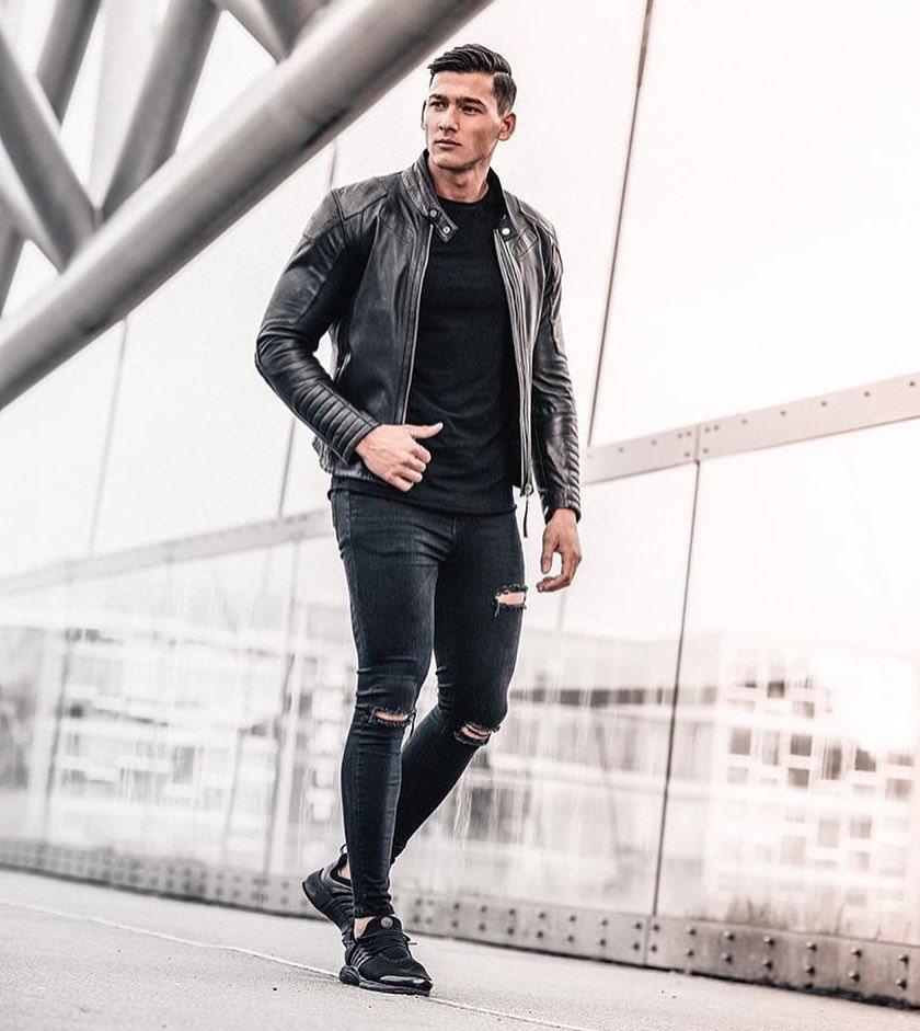 Leather biker jacket, tee, jeans, sneaker