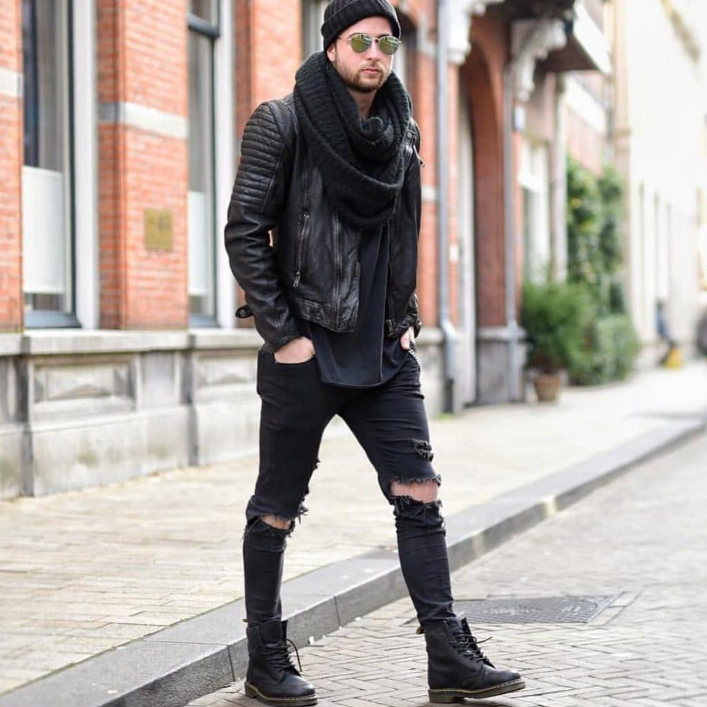 Leather biker jacket, scarf, tee, jeans, leather boots