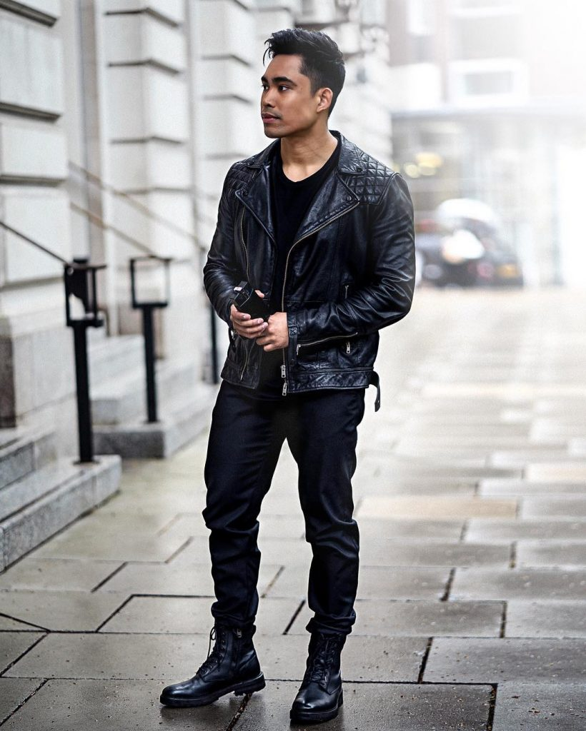 Leather biker jacket, tee, jeans, leather boots