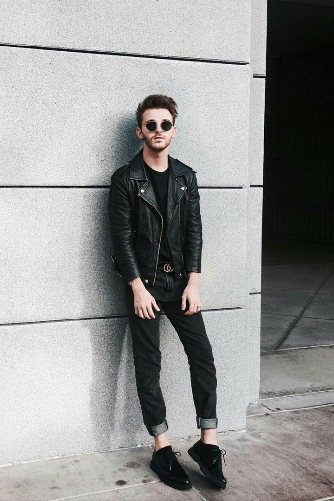 Leather biker jacket, black tee, jeans, sneaker