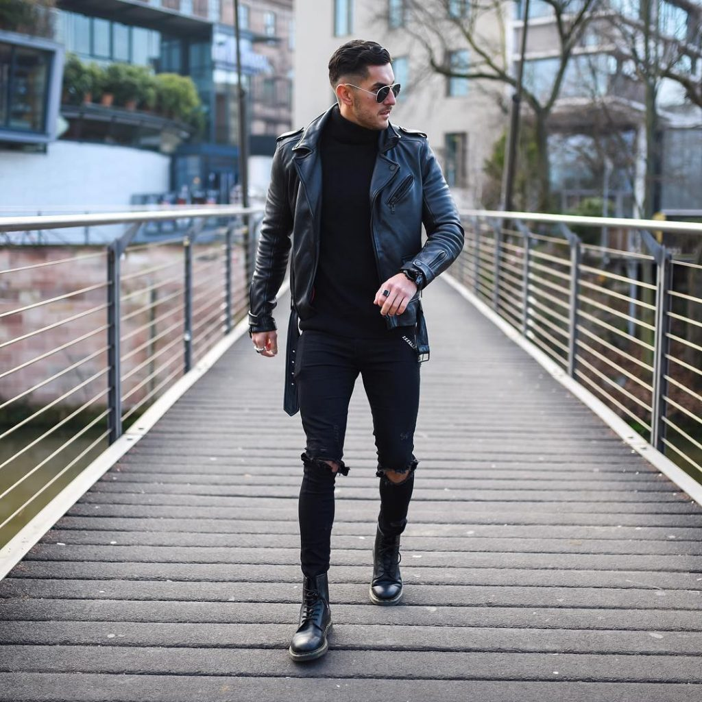 Leather biker jacket, sweater, jeans, leather boots