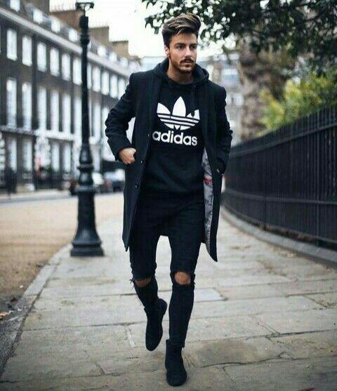 Black overcoat, tee, jeans, sneaker
