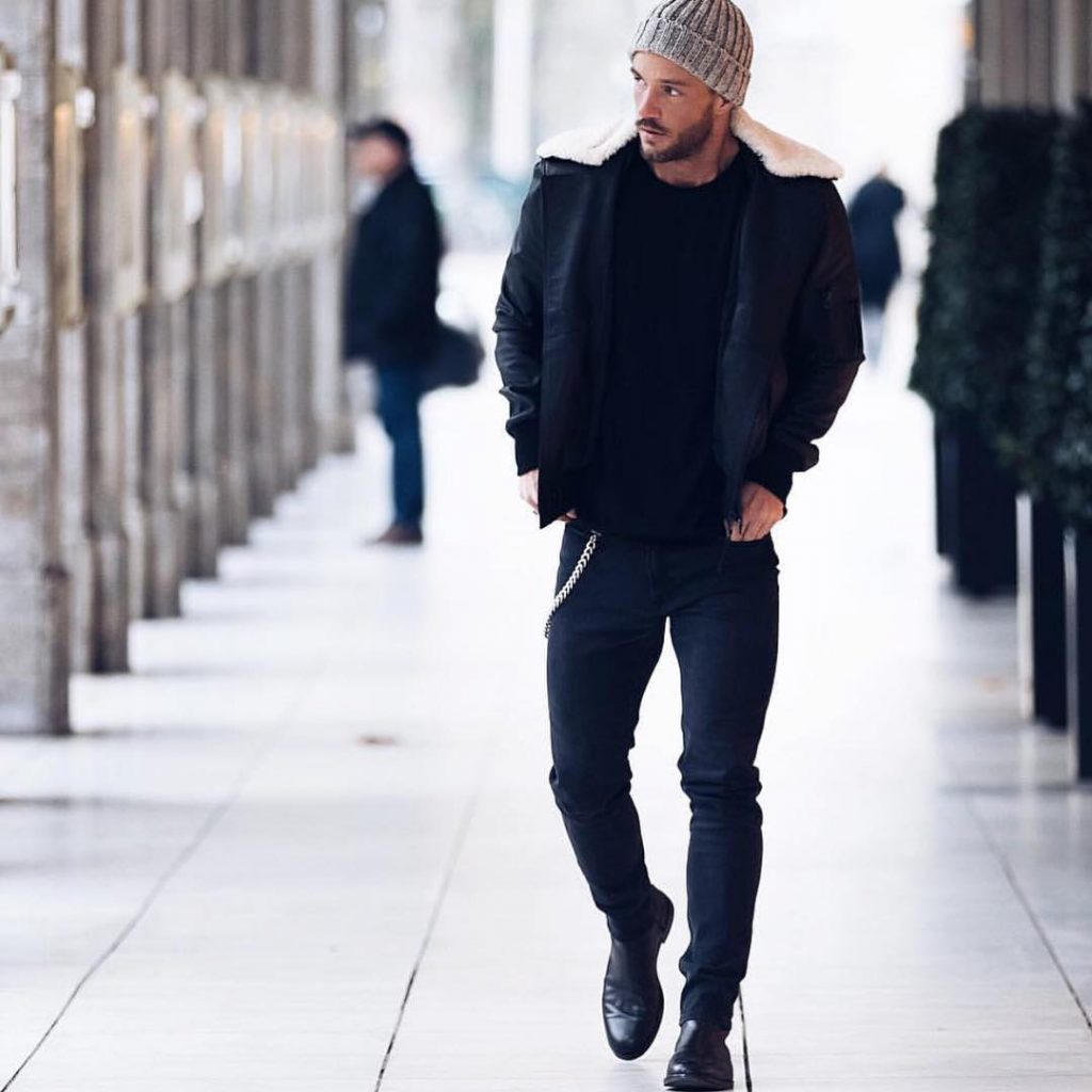 Black shearling collar overcoat, tee, jeans, boots