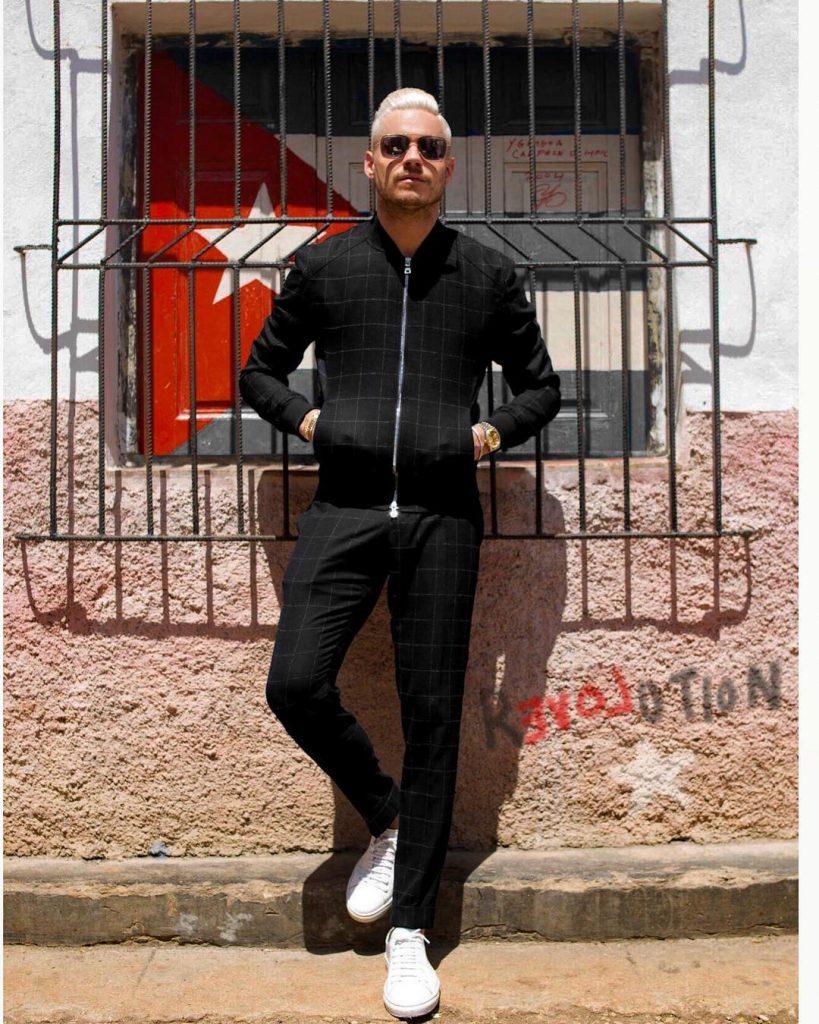 Black sport jacket, sport pants, sneaker