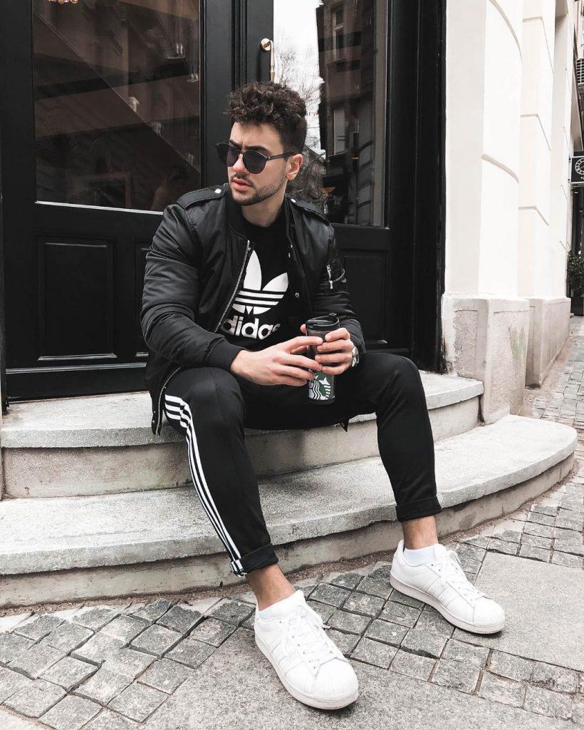 Black bomber jacket, tee, jogger pants, sneaker
