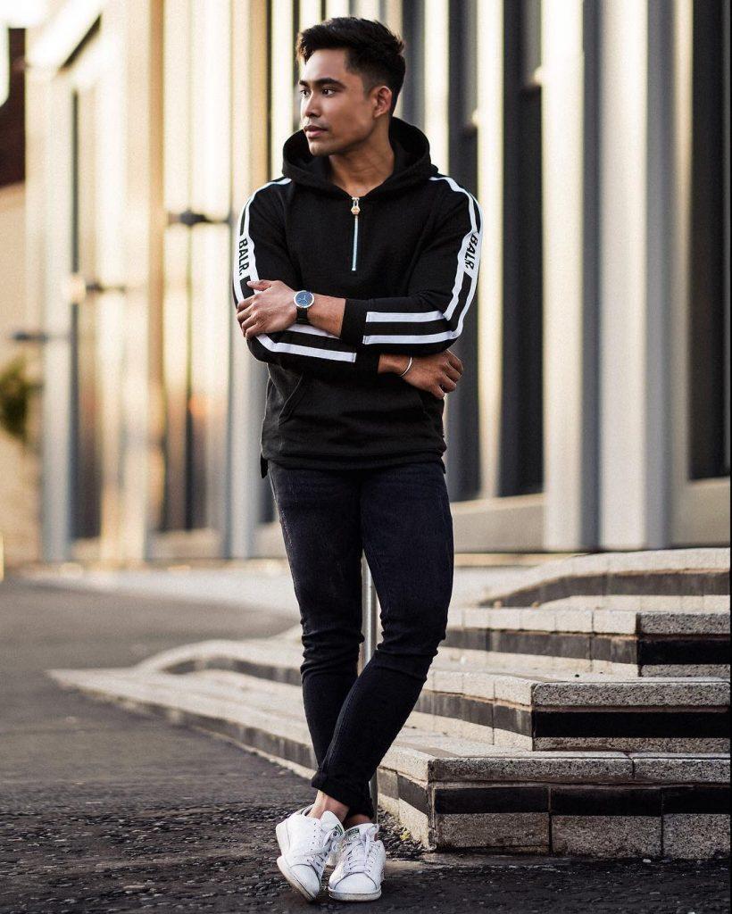 Black sport jacket,, jeans, sneaker