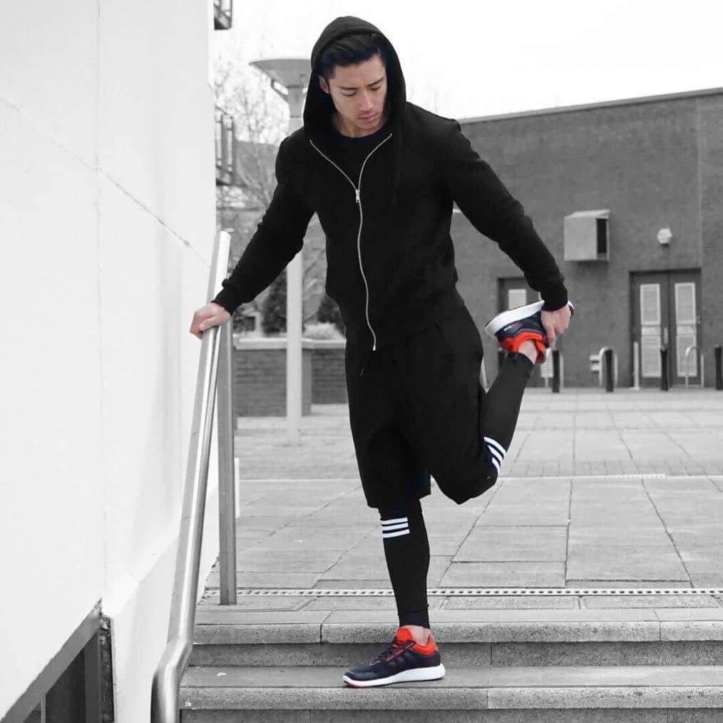 Black tee, sport jacket, sport pants, compression pants, training shoes