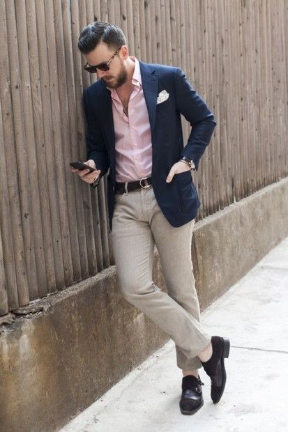 Dark blue blazer, pink button-down shirt, brown wool dress pants, and double monk strap shoes
