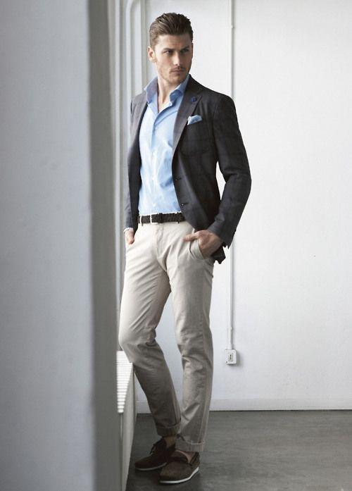 Dark gray checkedblazer, light blue shirt, beige khaki pants, braided leather belt, and suede shoes
