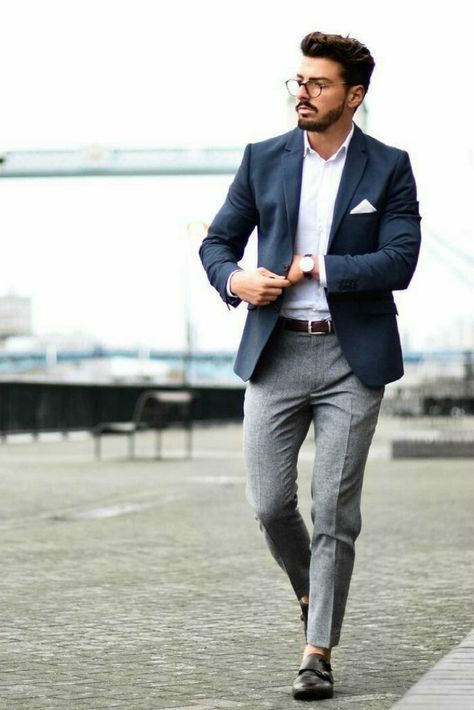 Blue blazer, white shirt, brown leather belt, wool dress pants, and double monk strap shoes