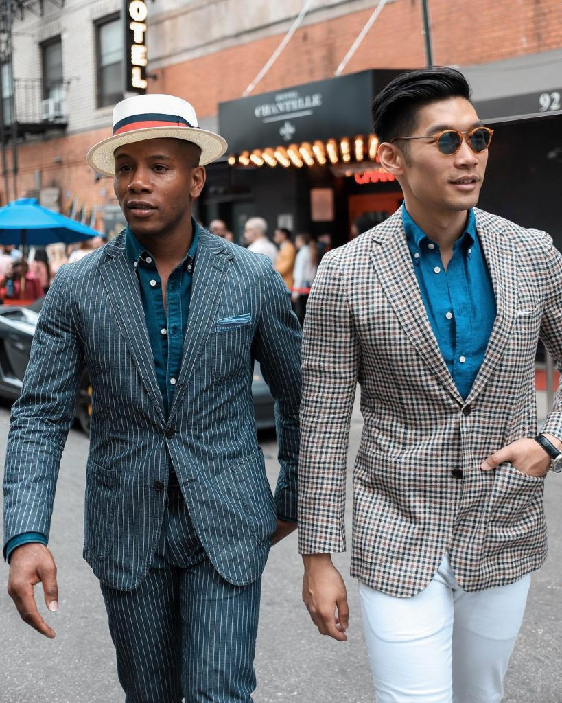 pinstripe suit, dark blue shirt, and boater hat + checked shirt, blue shirt, and white dress pants