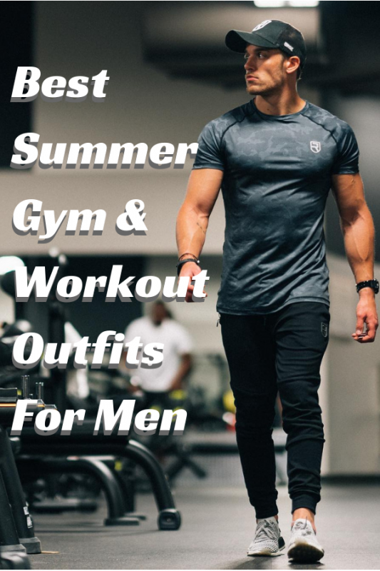 Best Summer Gym And Workout Outfits For Men. Dry-fit shirt, sport pants, baseball cap.