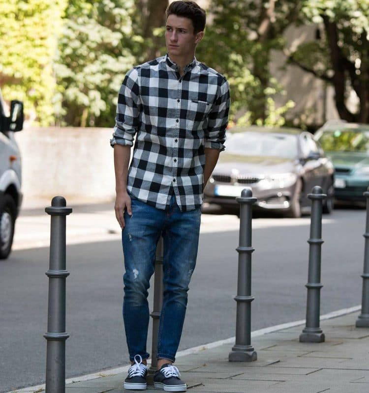 Checked shirt (bigger square), jeans,and sneaker