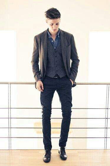 Denim shirt, wool blazer, vest, trousers and black leather shoes