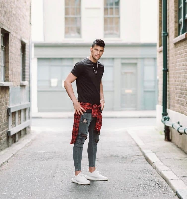 Black tee shirt, grey jeans, checked shirt and white sneaker