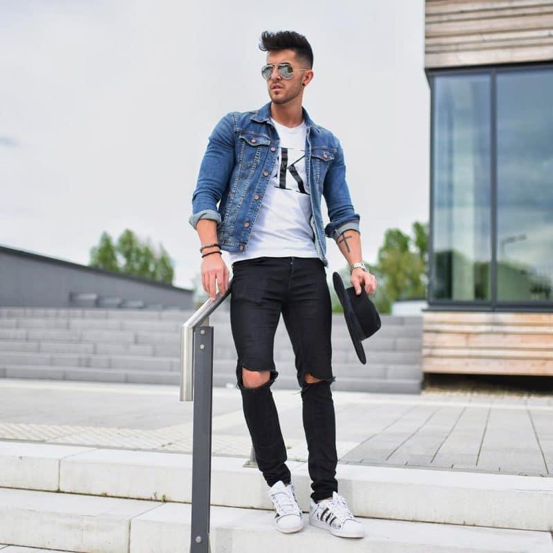 Print tee, denim jacket, black trousers, and sneaker